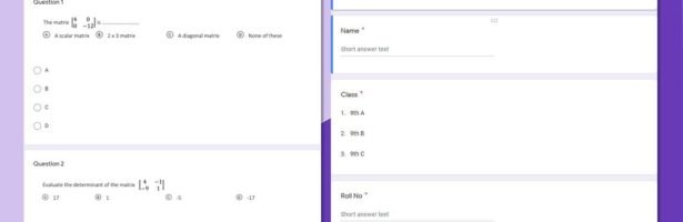 How to Create Multiple Choice Question Paper for Mathematics by using Google Form
